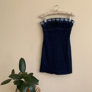 VTG 90's Strapless Stretch Denim Mini Dress